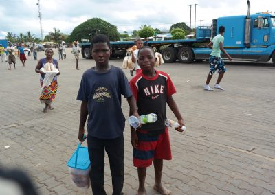 Boys selling food