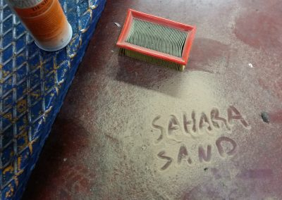 Sand on filter from the storm in Mauritania